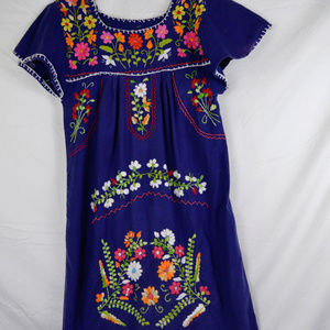 Vintage Mexican Embroidery Dress
